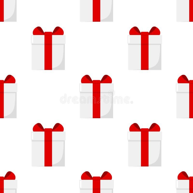 Weiße Geschenkbox-flache Ikonen-nahtloses Muster vektor abbildung