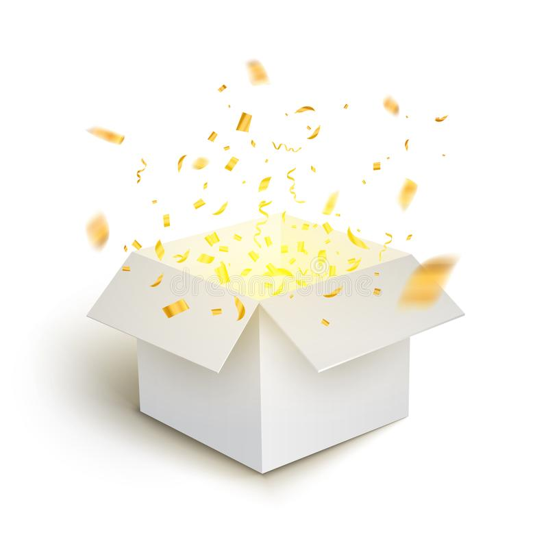 Weiße Geschenkboxkonfettiexplosion Überraschungsgeschenkbox-Paketdekoration der Magie offene stock abbildung