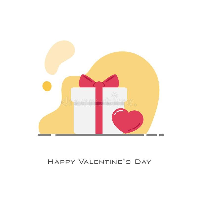 Weiße Geschenkboxnebenwirkung durch rotes Herz in der flachen Entwurfsart vektor abbildung