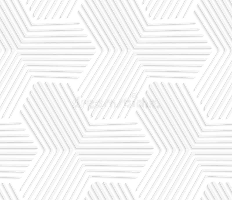 weiße gestreifte sechseckige Sterne 3D lizenzfreie abbildung