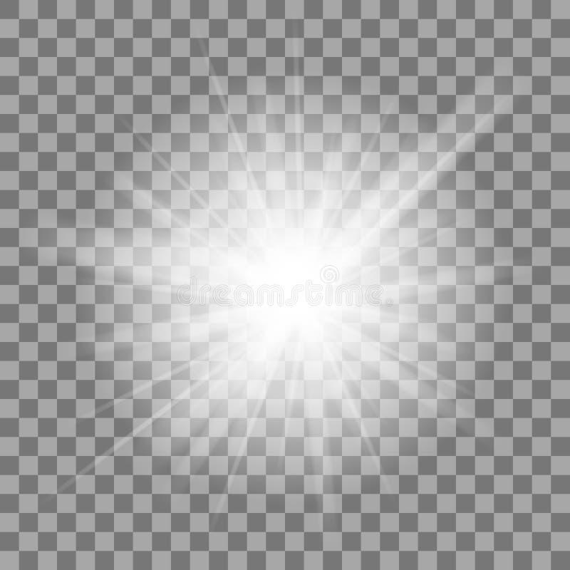 Weiße glühende helle Explosionsexplosion auf transparentem Hintergrund Helles Stern-Aufflackern explodieren lizenzfreie abbildung