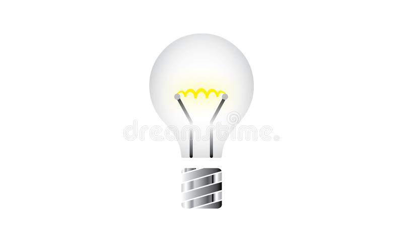 Weiße Glühlampe-glänzende - Energie-und Ideen-Symbol - kreative Konzept-viel versprechende Zukunft stock abbildung