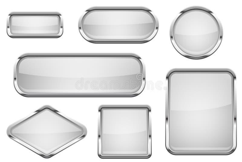 Weiße Glasknöpfe mit Chromrahmen Satz glänzende Ikonen des Netzes 3d stock abbildung