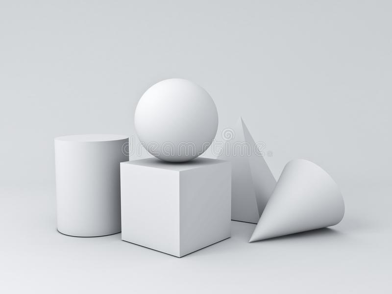 Weiße Grafik der Geometrie-3D formt den Würfel-Pyramiden-Kegel-Zylinder-Bereich, der auf weißem Hintergrund lokalisiert wird lizenzfreie abbildung