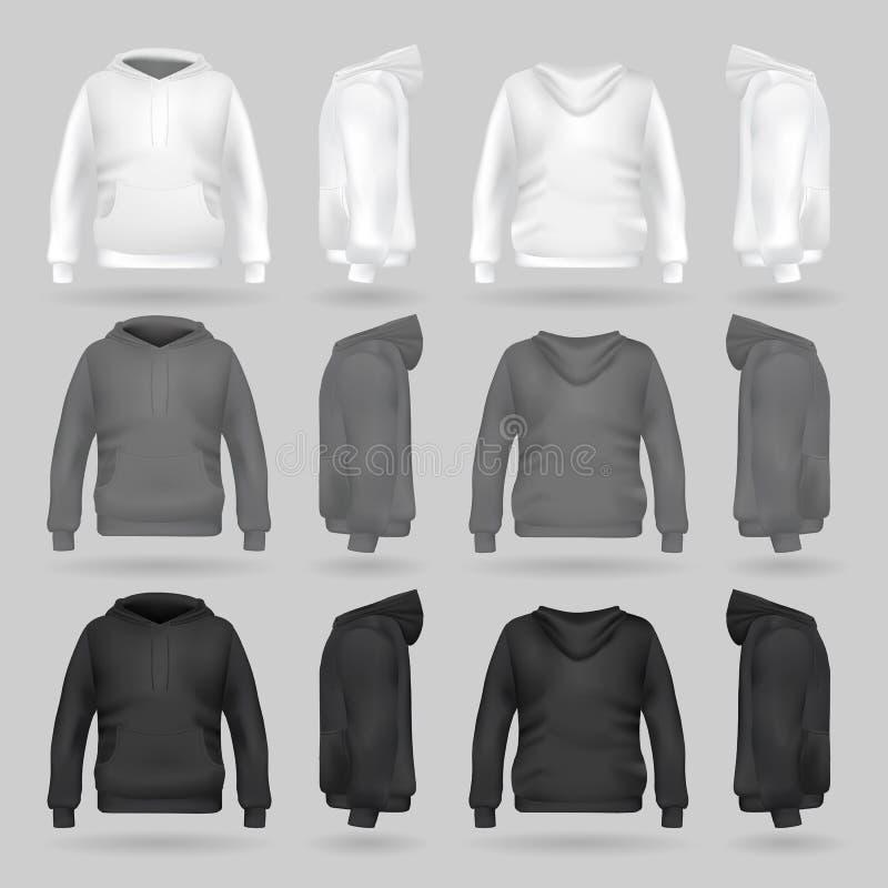 Weiße, graue und schwarze Sweatshirt Hoodieschablone in vier Maßen lizenzfreie abbildung