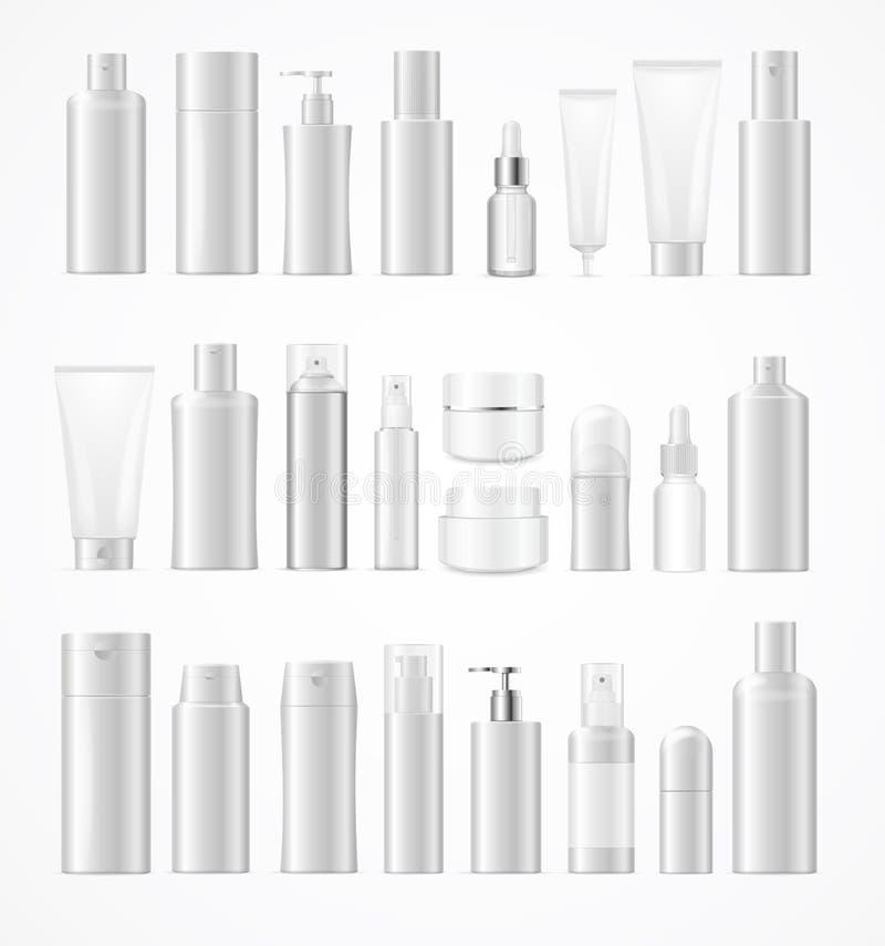 Weiße große kosmetische Flaschen des realistischen Schablonen-freien Raumes eingestellt lokalisiert Vektor lizenzfreie abbildung