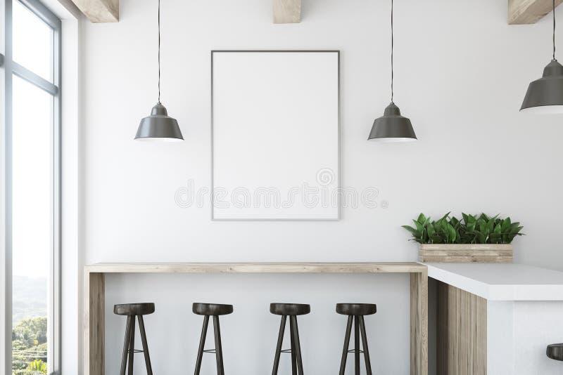 Weiße hölzerne Stangen-, Stand- und Plakatnahaufnahme vektor abbildung