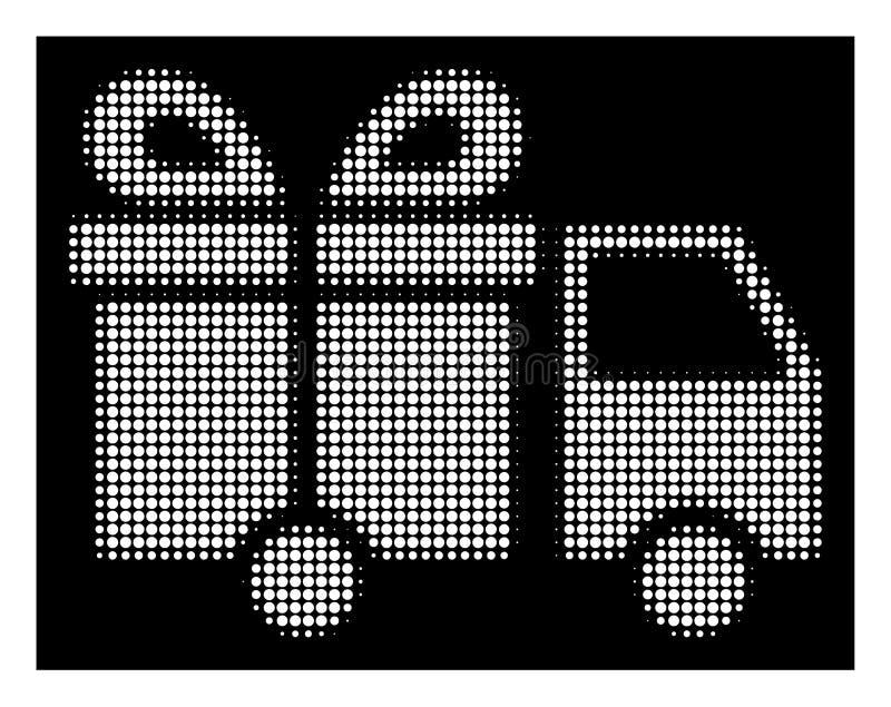 Weiße Halbtongeschenk-Lieferung Van Icon lizenzfreie abbildung