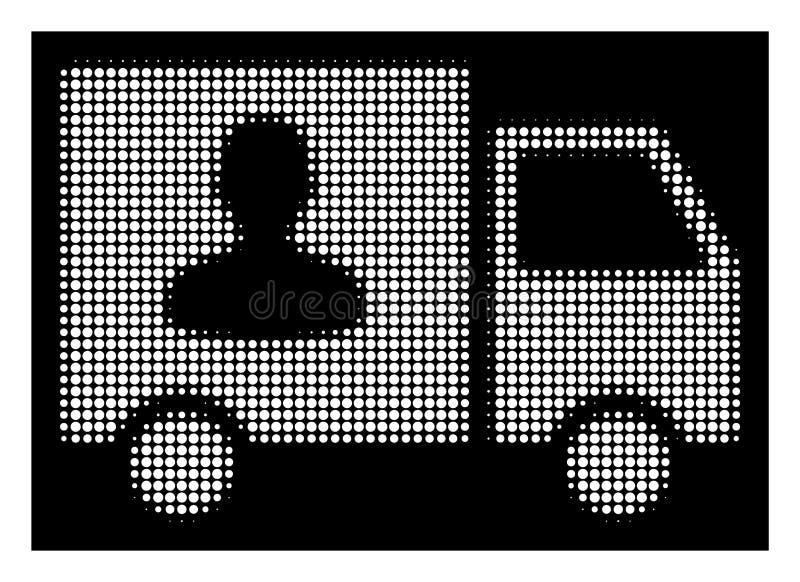 Weiße Halbtonpersonenbeförderung Van Icon lizenzfreie abbildung