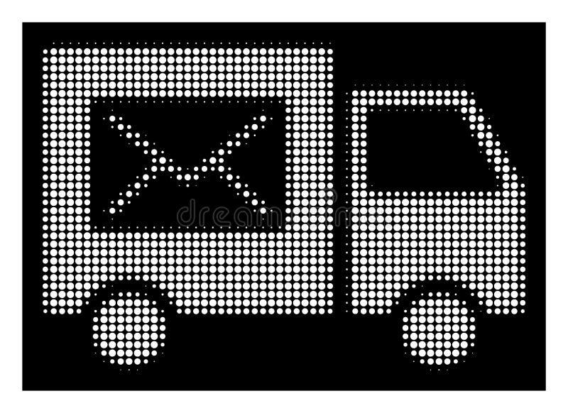 Weiße Halbtonzustellung Van Icon lizenzfreie abbildung