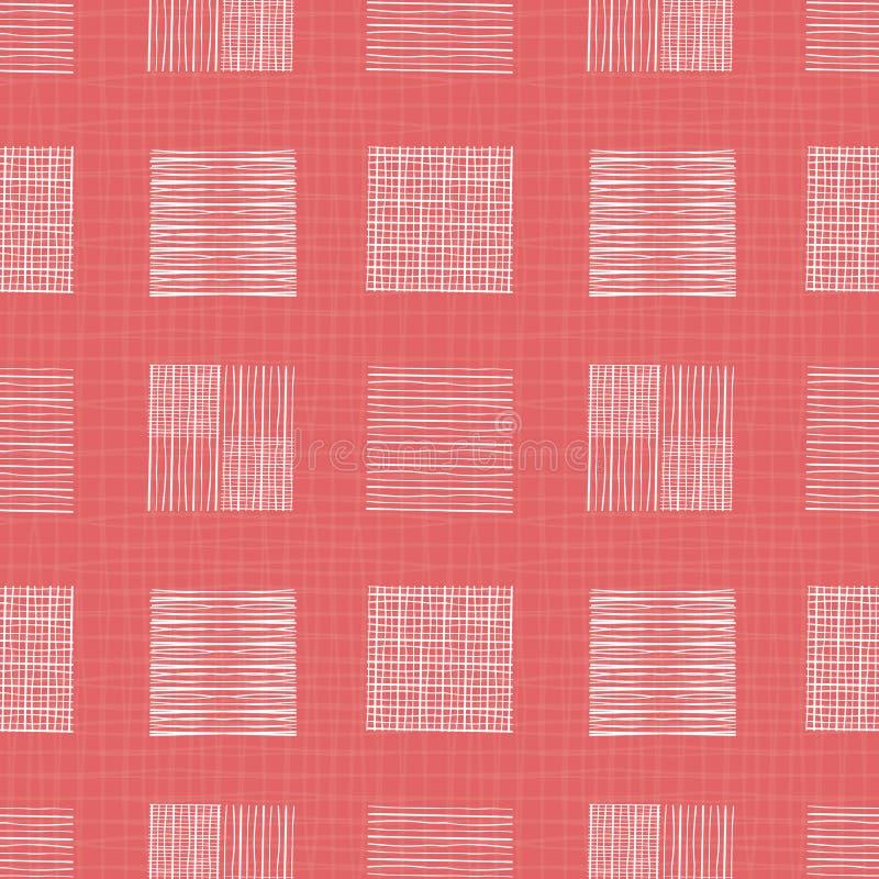 Weiße Handgezogene einzelne Gekritzelquadrate von verschiedenen Formen Geometrisches nahtloses Muster auf dem korallenroten Gitte vektor abbildung