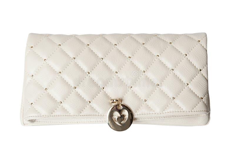 Weiße Handtasche mit Juwel lizenzfreie stockbilder