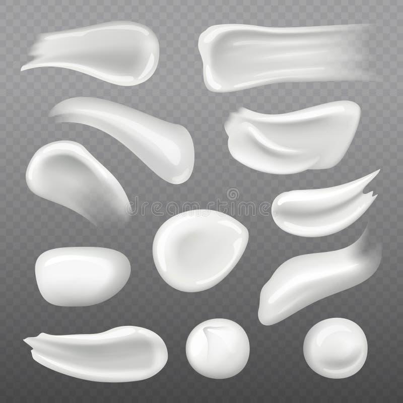 Weiße Hautcreme Frisches kosmetisches Gel für realistische Schablone des Frauenhautpflege-Vektors vektor abbildung