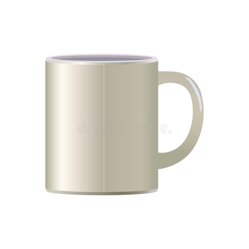 Weiße helle keramische einfache VektorKaffeetasse für lokalisierten Gegenstand des Teetees Suppe auf weißem Hintergrund stock abbildung