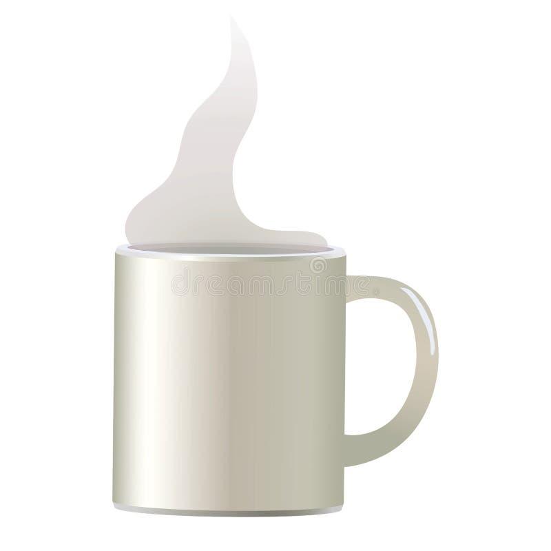 Weiße helle VektorKaffeetasse für lokalisierten Gegenstand der Suppe Tee auf dem weißen Hintergrund einfach mit weißem lichtdurch lizenzfreie abbildung
