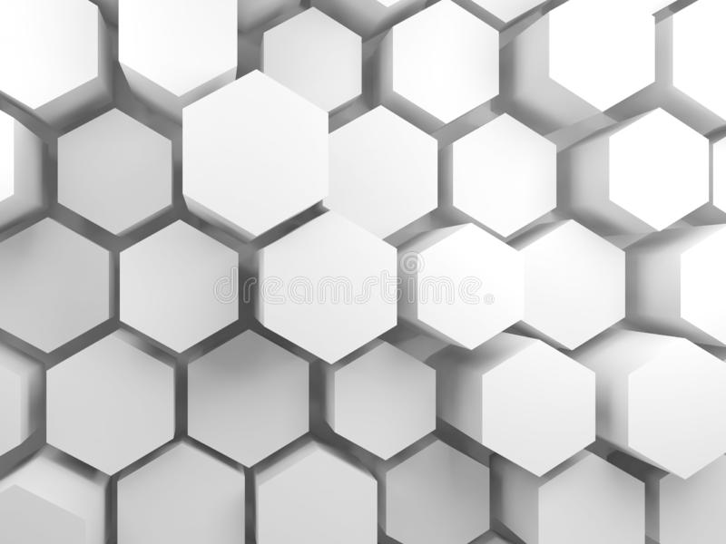 Weiße Hexagonblöcke auf Wand, 3d stock abbildung