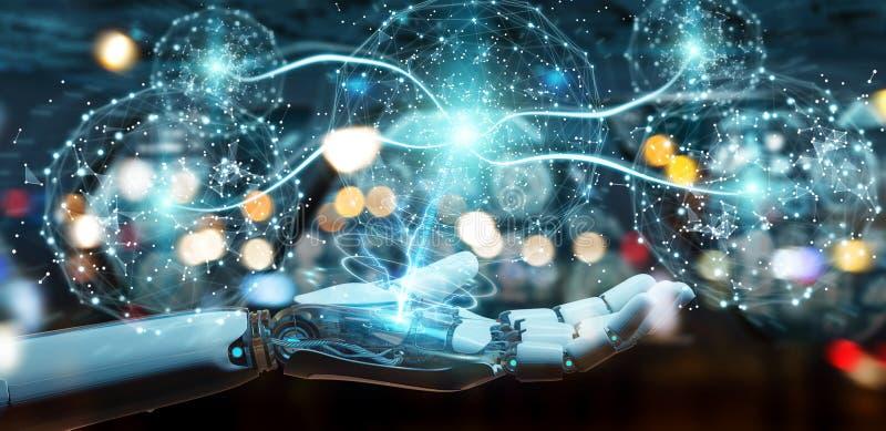 Weiße Humanoidhand unter Verwendung der digitalen Wiedergabe des globalen Netzwerks 3D stock abbildung