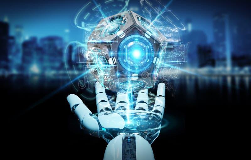 Weiße Humanoidhand unter Verwendung der Wiedergabe der Brummenüberwachungskamera 3D lizenzfreie abbildung