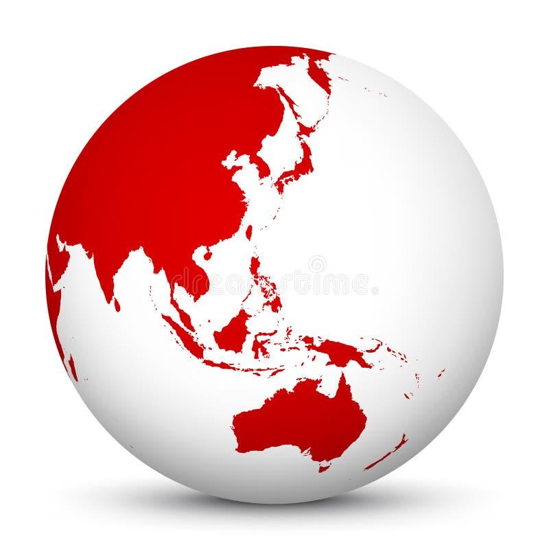 Weiße Ikone der Kugel-3D mit roten Kontinenten Fokus auf Australien, Jap vektor abbildung