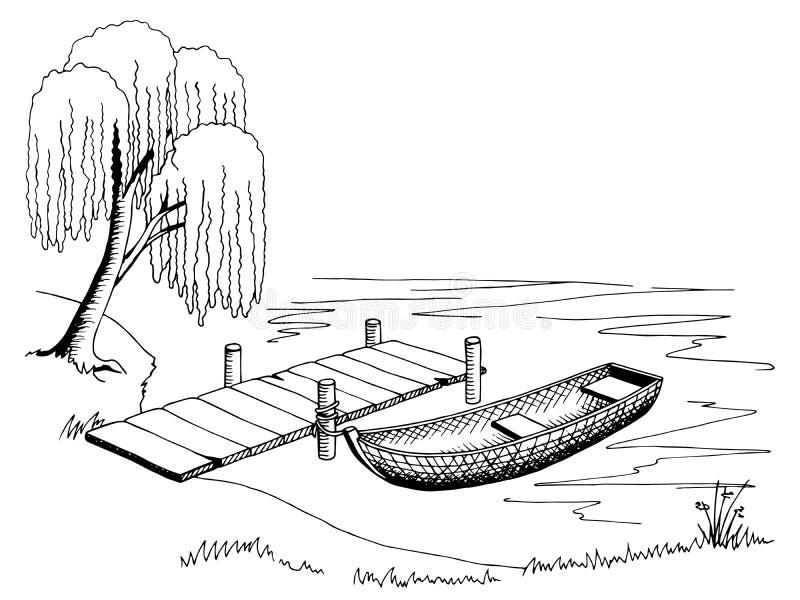 Weiße Illustration des Schwarzen der grafischen Kunst des Bootspiers Landschafts lizenzfreie abbildung