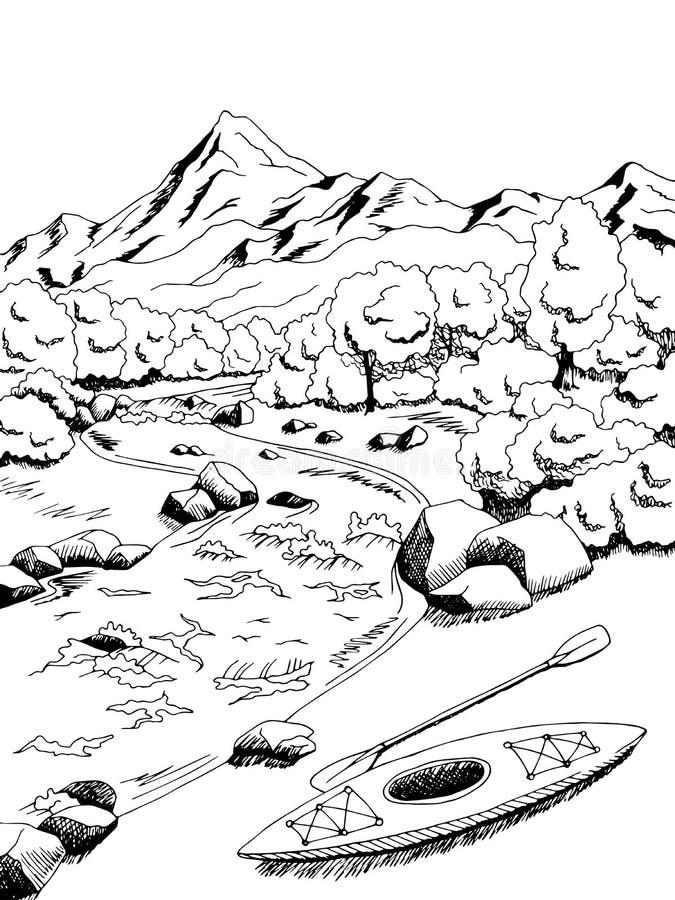 Weiße Illustration des Schwarzen der grafischen Kunst des Gebirgsflusskajakbootes Landschafts vektor abbildung