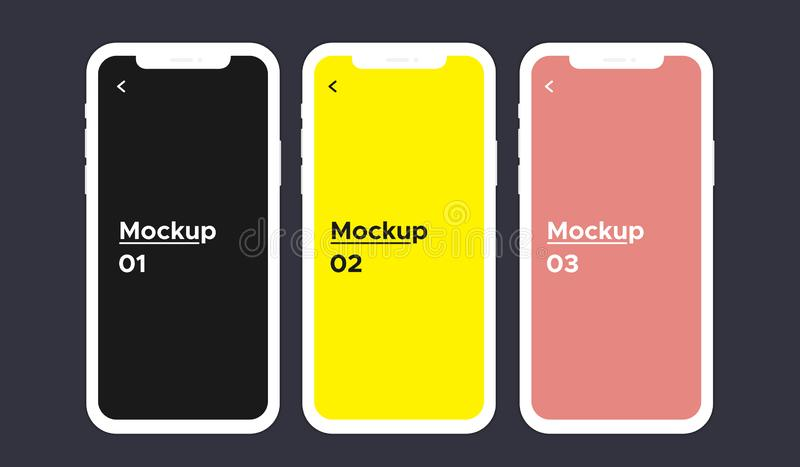 Weiße iphone x Farbe Schirmes 3 mit dem leeren Bildschirm lokalisiert auf Hintergrund stock abbildung