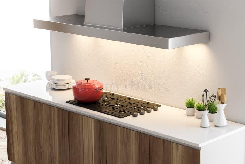 Weiße Küche Countertops und Kocher, Seitenansicht vektor abbildung