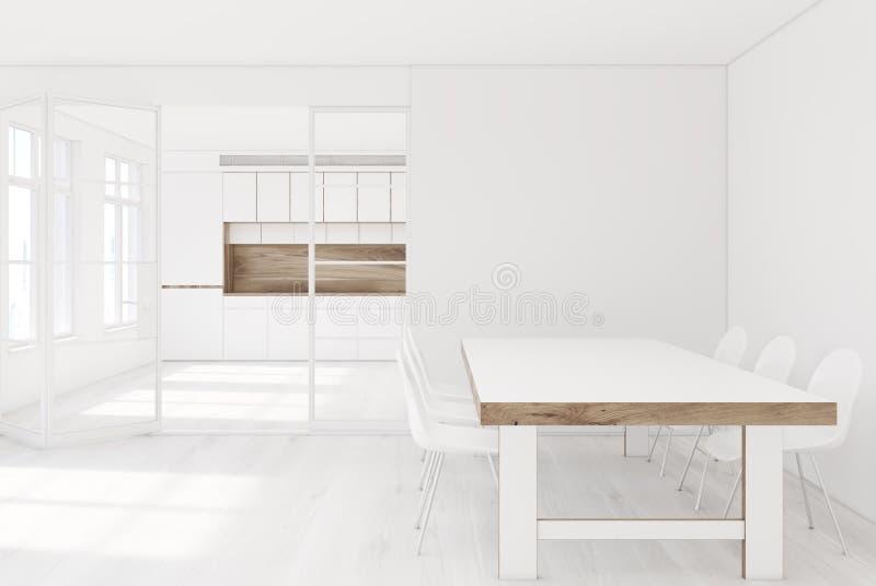 Weiße Küche Innen, Esszimmer lizenzfreie abbildung