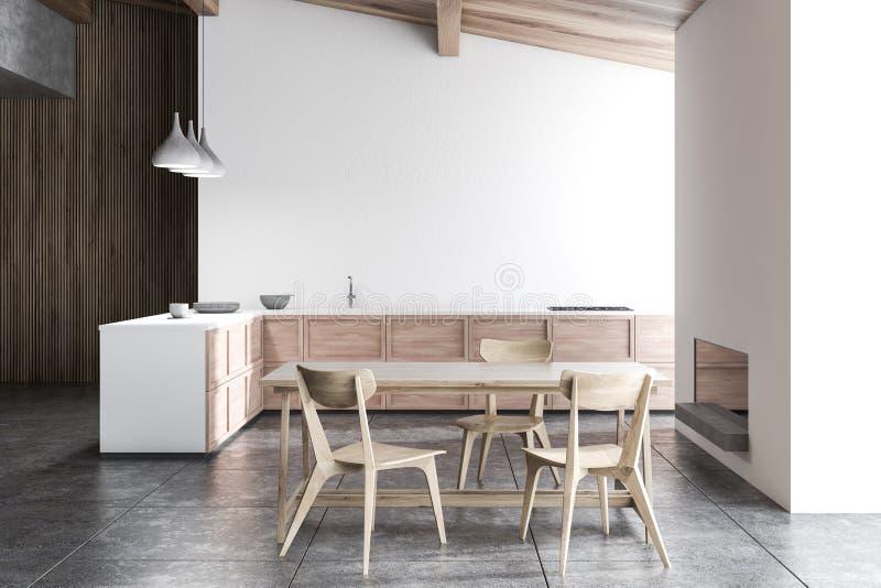 Weiße Küche mit Kamin lizenzfreie abbildung