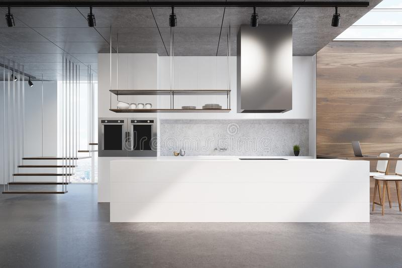 Weiße Küchenarbeitsplatte, Holz und Beton vektor abbildung