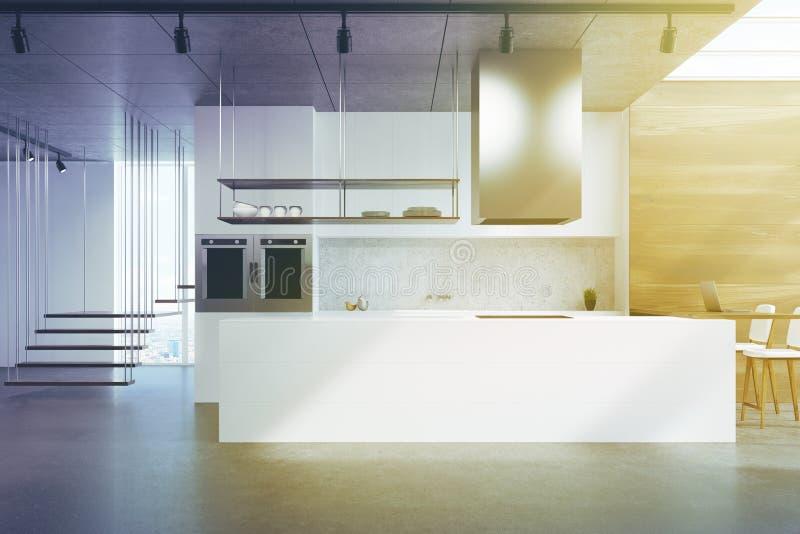 Weiße Küchenarbeitsplatte, Holz und Beton getont stock abbildung