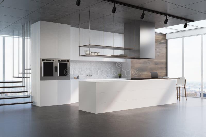 Weiße Küchenarbeitsplatte, Seitenansicht lizenzfreie abbildung