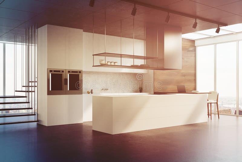 Weiße Küchenarbeitsplatte, Seitenansicht getont stock abbildung