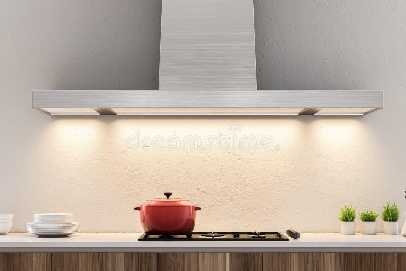 Weiße Küchencountertops und -kocher vektor abbildung