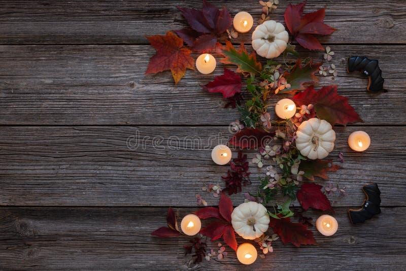 Weiße Kürbise, heller Herbstlaub, brennende weiße Kerzen lizenzfreies stockbild