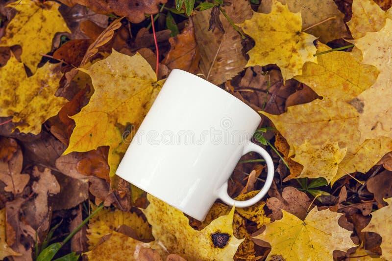 Weiße Kaffeetasse auf dem Hintergrund des gefallenen Gelbs verlässt lizenzfreies stockbild