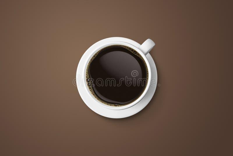 Weiße Kaffeetasse und heißes Espressokaffeeisolat auf braunem backgr vektor abbildung