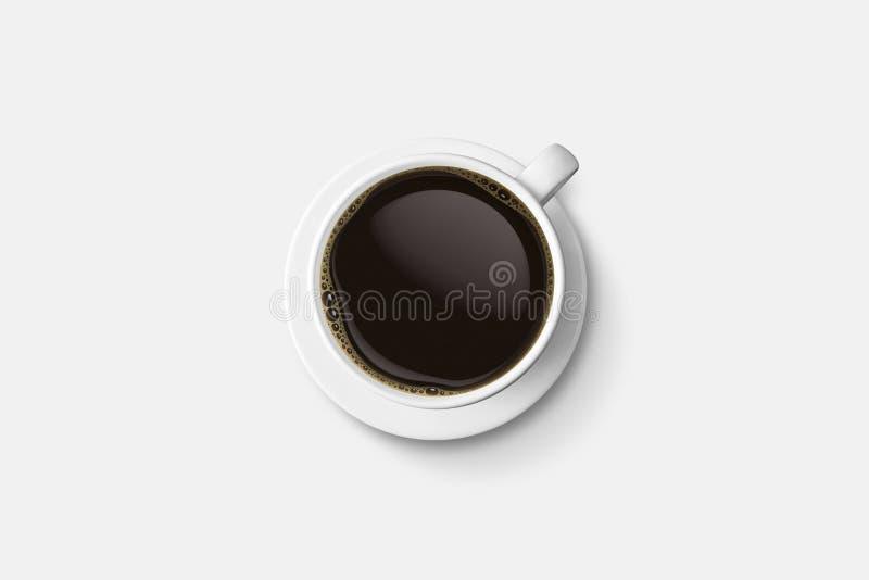Weiße Kaffeetasse und heißes Espressokaffeeisolat auf weißem backgr lizenzfreie abbildung