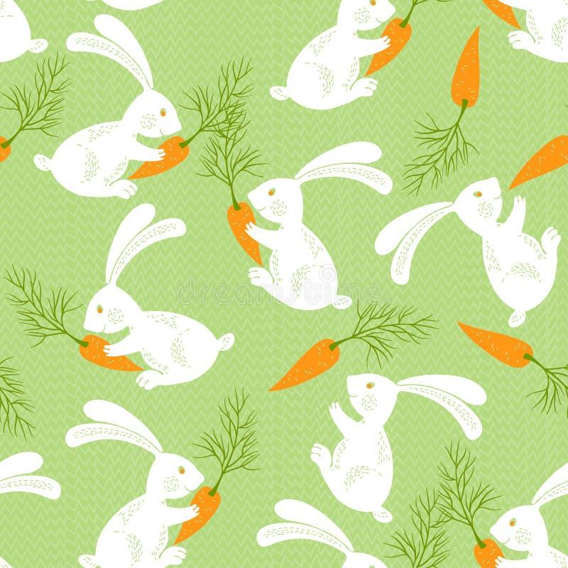 Weiße Kaninchen mit Karotten Nahtloses Muster Tierrückseite lizenzfreie abbildung