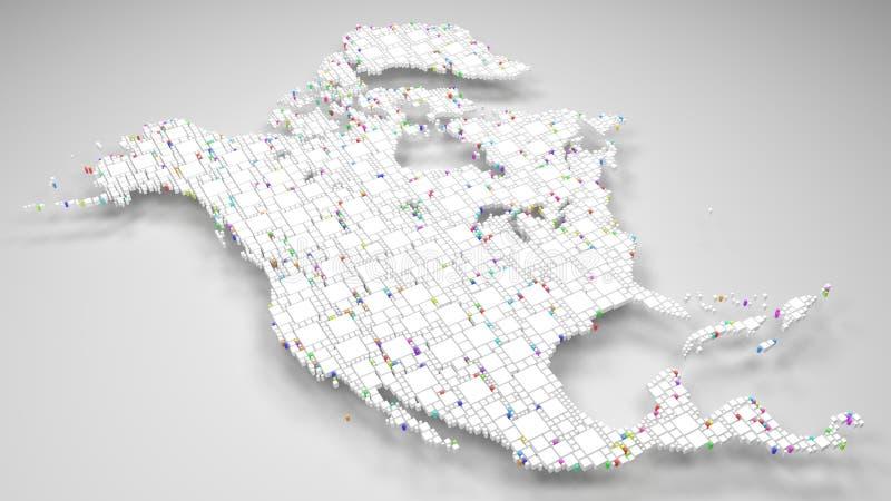Weiße Karte von Nordamerika lizenzfreie abbildung
