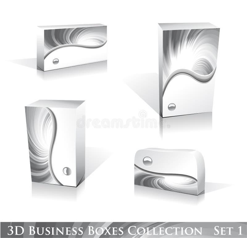 Weiße Kasten-Ikonen-Set lizenzfreie abbildung
