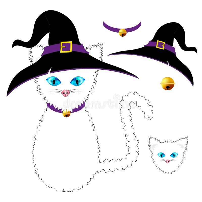 Weiße Katze mit blauen Augen Hexen-Hut, purpurroter Kragen und goldener Ball Bell Halloween-Tag Auch im corel abgehobenen Betrag vektor abbildung