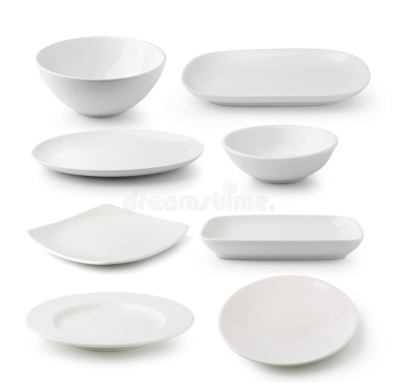 Weiße Keramikplatte und -schüssel lizenzfreies stockfoto