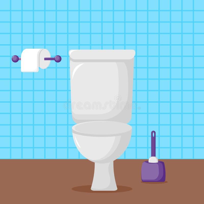 Weiße Keramiktoilette, Toilettenpapier lizenzfreie abbildung