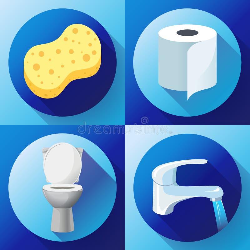 Weiße Keramikvektor-Toilettenschüsselikone moderne Toilette in der flachen Art Wasserhahn mit flüssigem Wasser, Toilettenpapierik vektor abbildung