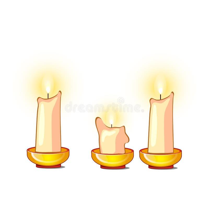Weiße Kerzen brennen und schmelzen lokalisiert auf weißem Hintergrund Vektorkarikatur-Nahaufnahmeillustration stock abbildung