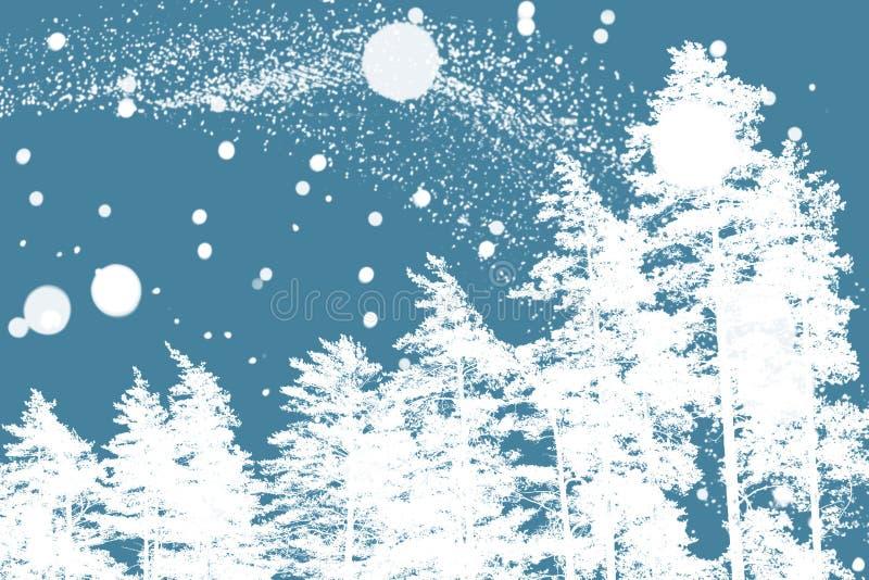 Weiße Kiefer und unscharfe Schneeflocken lizenzfreie stockfotografie