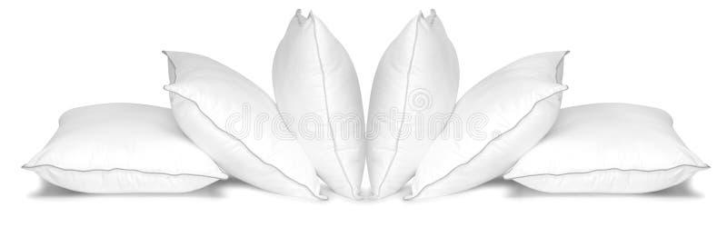 Weiße Kissen. Getrennt stockfotos