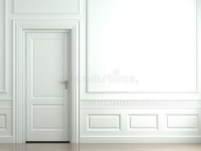 Weiße klassische Wand mit Tür lizenzfreie abbildung