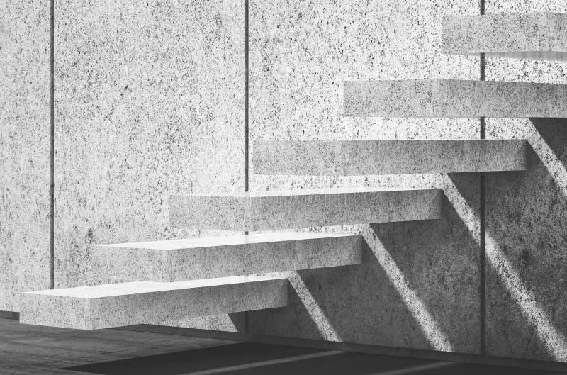 Weiße konkrete Treppe auf Wand 3d übertragen Abbildung stock abbildung